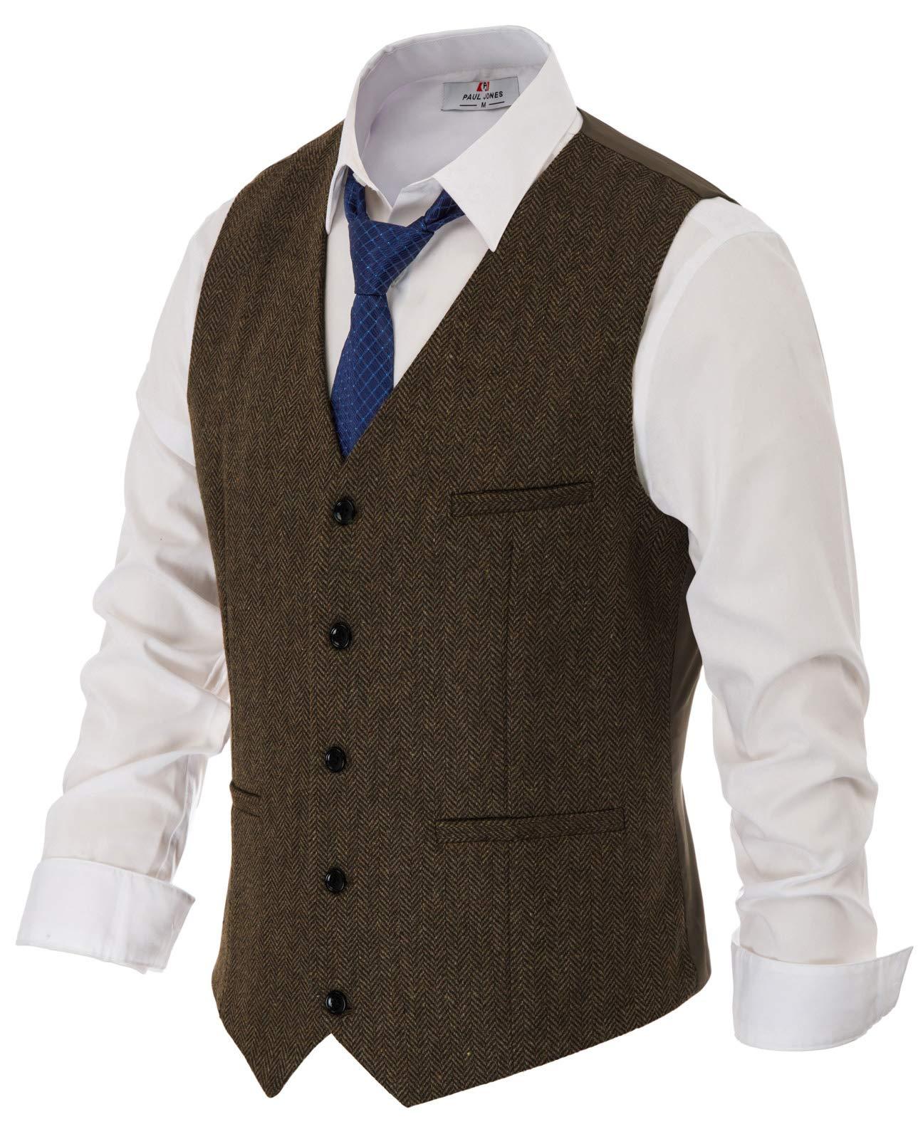 Retro Wool Tweed Suit Vest Mens Slim fit Vintage Waistcoat (XL,Dark Brown) by PJ PAUL JONES