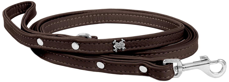 Rockin' doggie Plain Leather Dog Leash, 1 2 by 5-Feet, Brown