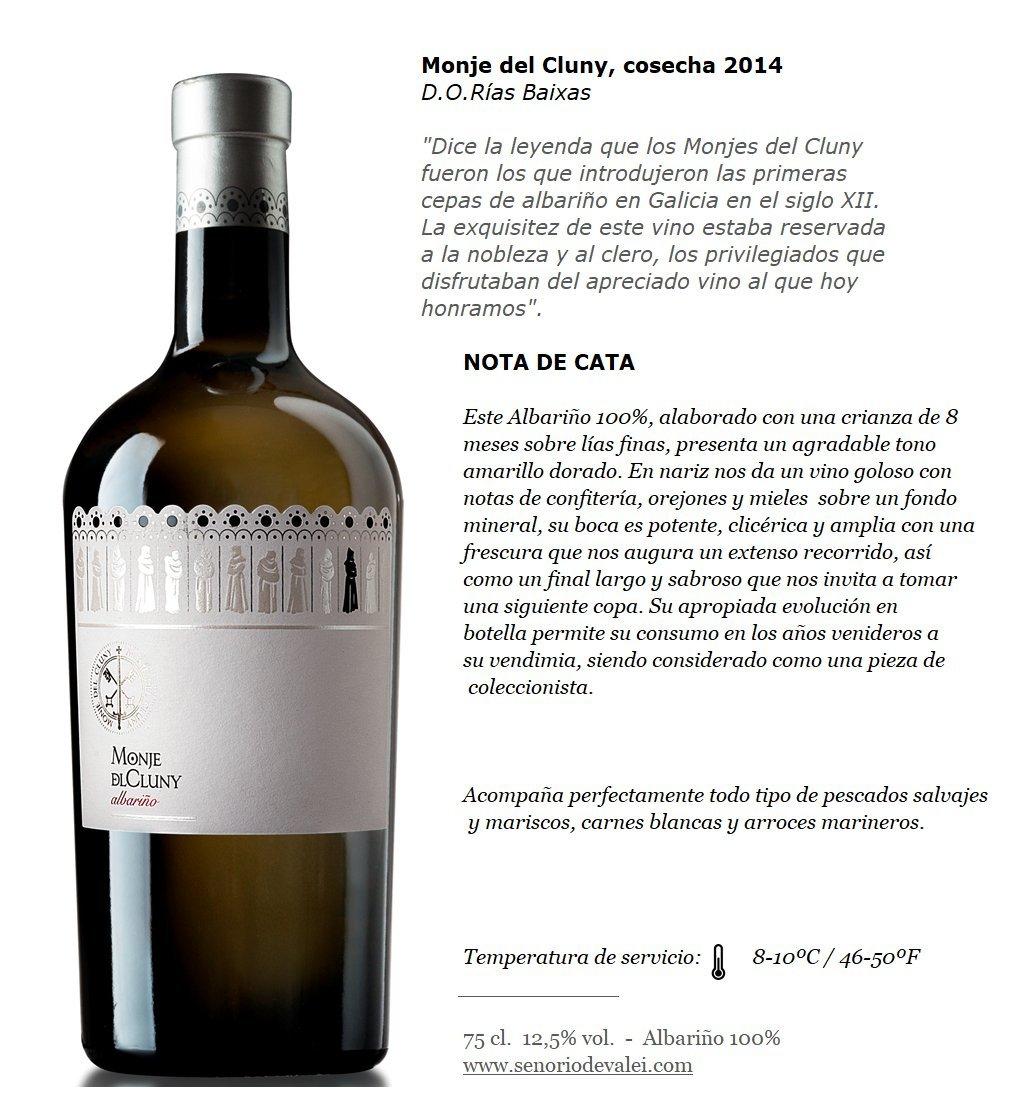MONJE DEL CLUNY Vino blanco – Albariño Rias Baixas – Criado sobre lías - Producto Gourmet – Vino Colección - Vino bueno para regalo – caja de vino - ...