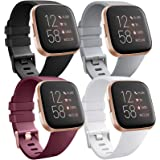[4 Pack] Bands Compatible with Fitbit Versa 2, Fitbit Versa, Versa Lite/SE, Assorted Soft Silicone Patterned Wristbands, Blac
