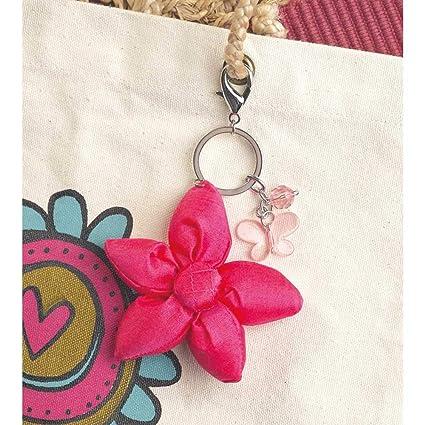 Llavero con diseño de flores y mariposas, color fucsia ...