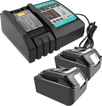 Imagen de2 piezas 18 V 4,0 Ah batería de ion de litio de repuesto con 3 A cargador de repuesto para Makita Radio de construcción DMR110 DMR112 DMR107 DMR108 BMR100 18 V Radio inalámbrica Bluetooth