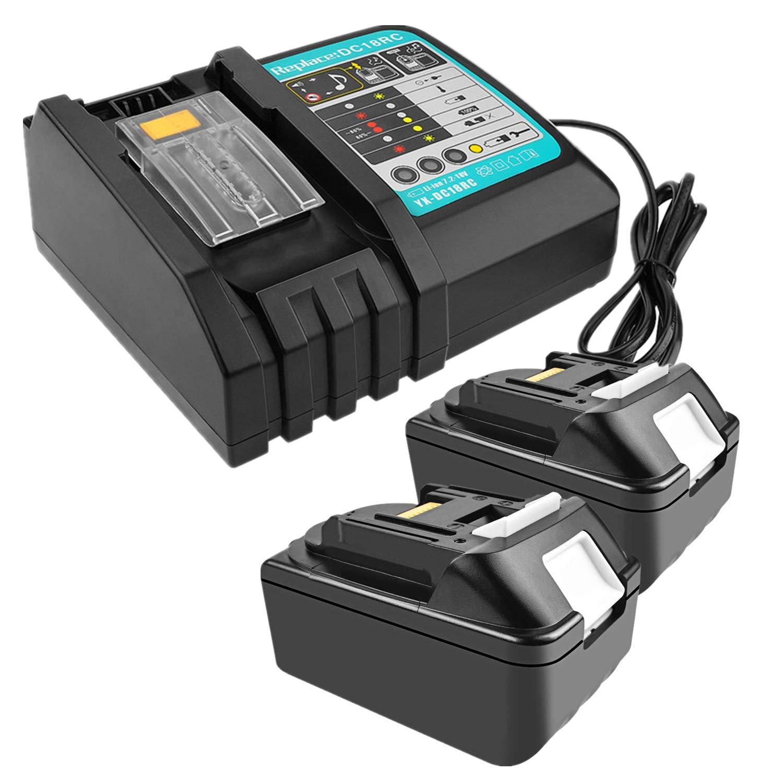 Lot de 2 batteries de rechange Li-Ion 18 V 3,0 Ah avec chargeur 3 A pour radio de chantier Makita DMR110 DMR112 DMR107 DMR108 BMR100 BMR102 DMR102 DMR102 DMR100 18 V
