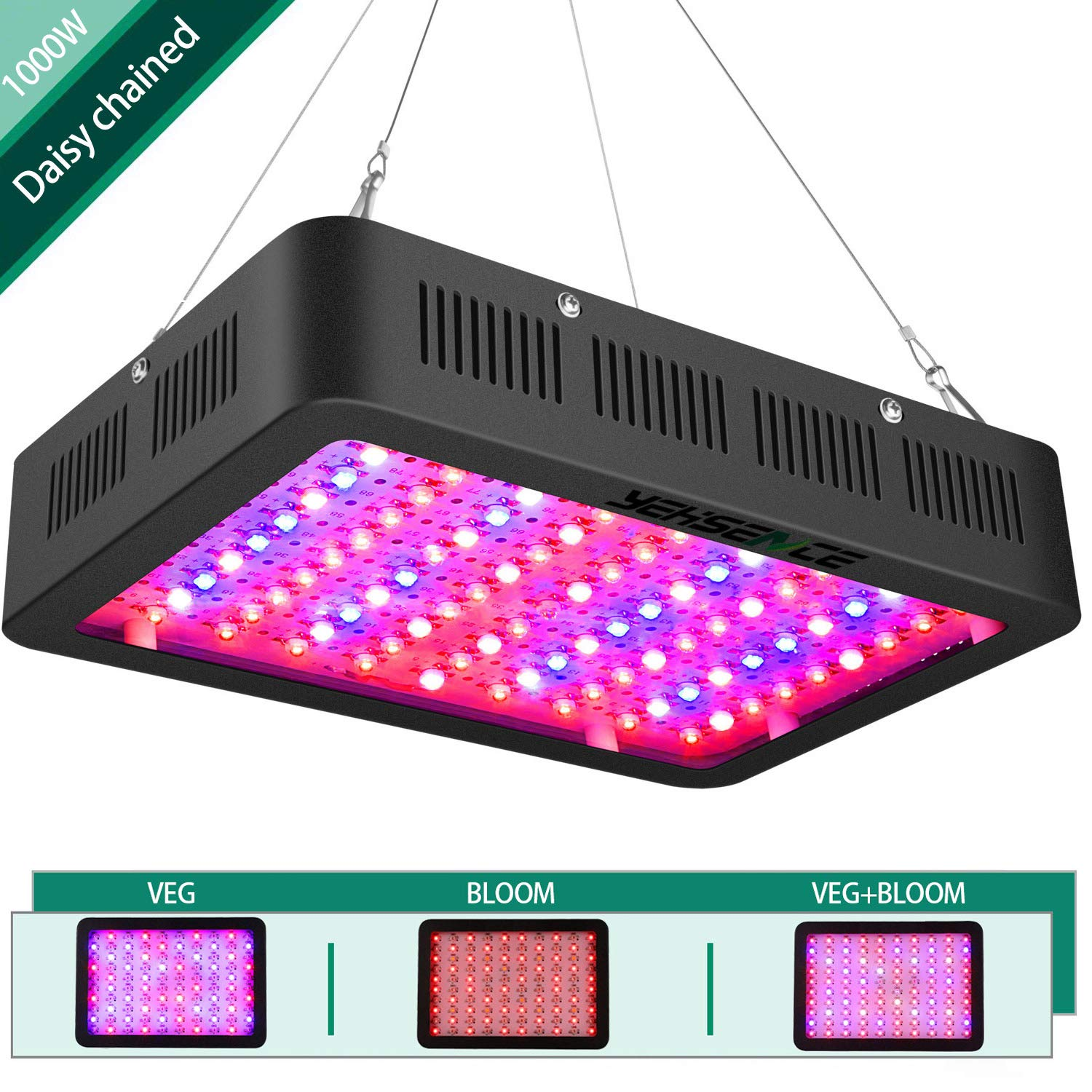 1000w LED Grow Light Connected in Series,Yehsence (15W LED) 3 Chips LED Plant Growing Lamp Full Spectrum with Adjustable Rope for Indoor Plants Veg and Flower/Replace Hps Grow Light Fixture