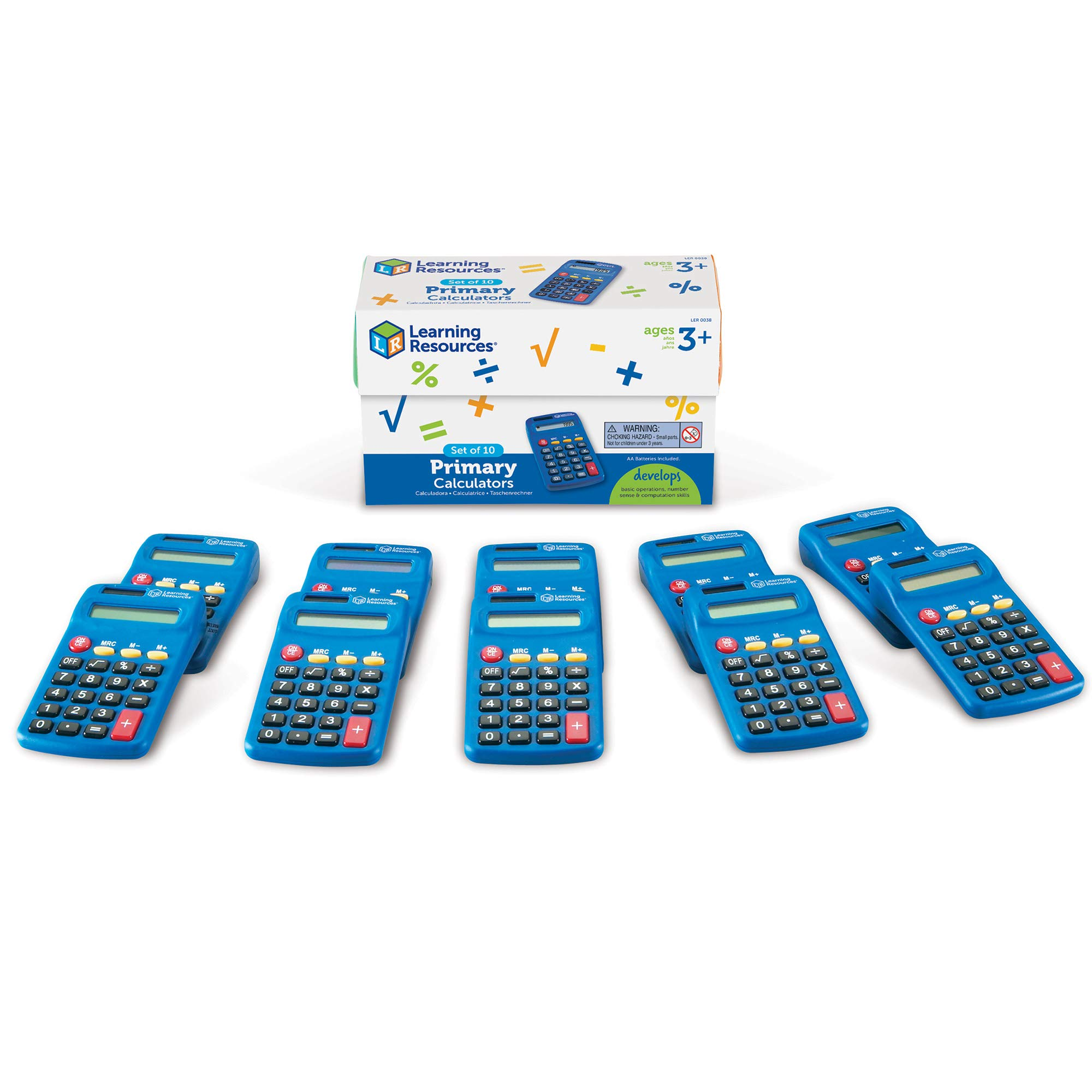 Learning Resources Primary Calculator, Basic Solar Powered Calculators, Teacher Set of 10 Calculators, Ages 3+ by Learning Resources
