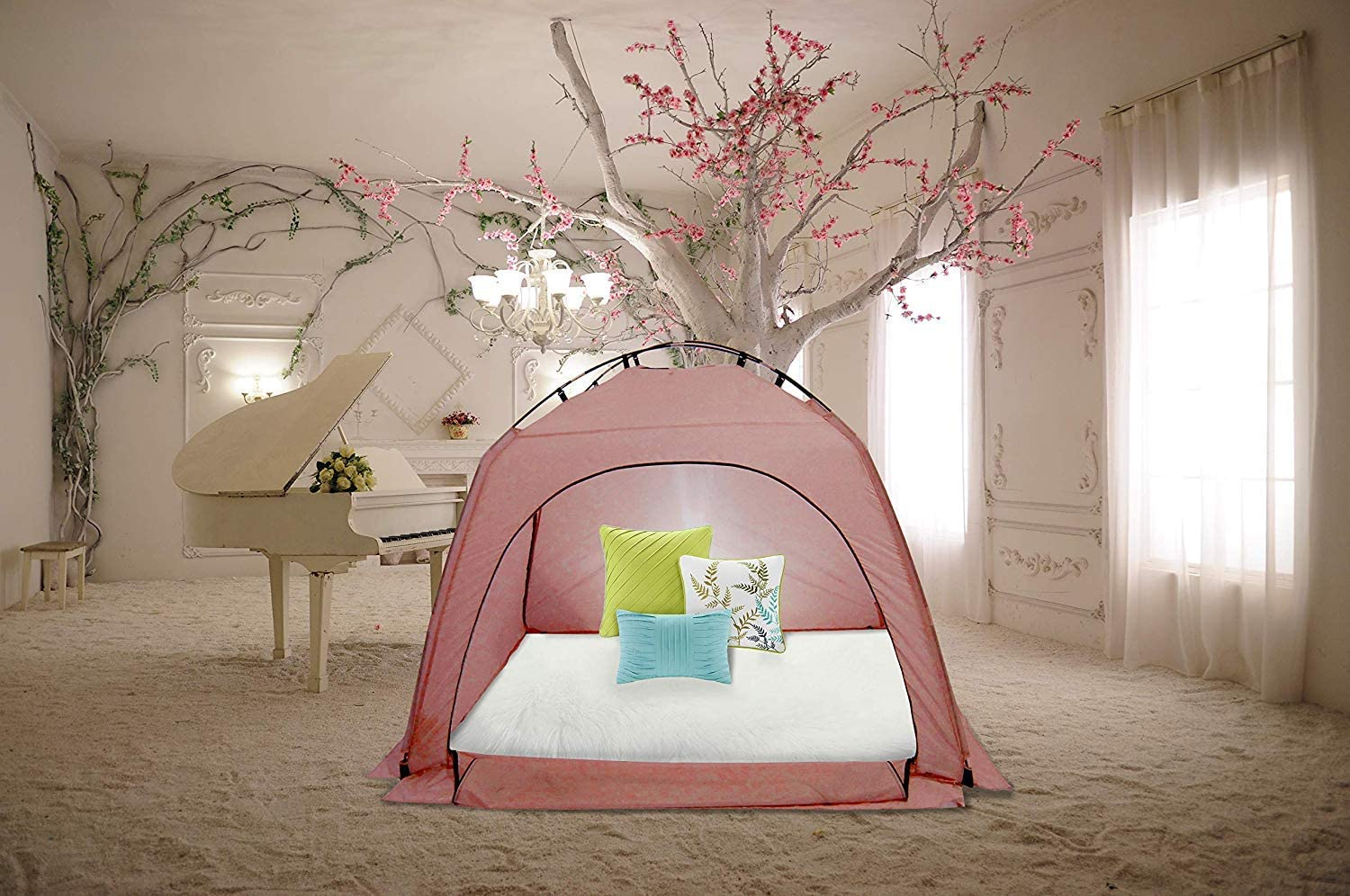 Indoor Warm Tent Privacy Play Tent on Bed Blackout Sleep Cozy in Drafty Room