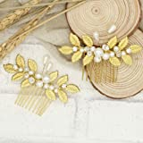 Handmadejewelrylady Bridal Leaves Hair Comb Gold Flowers Rhinestone Crystals Wedding Hair Accessories Bride Bridal Floral Hair Comb Head Pieces Hair Clips Pins Jewelry