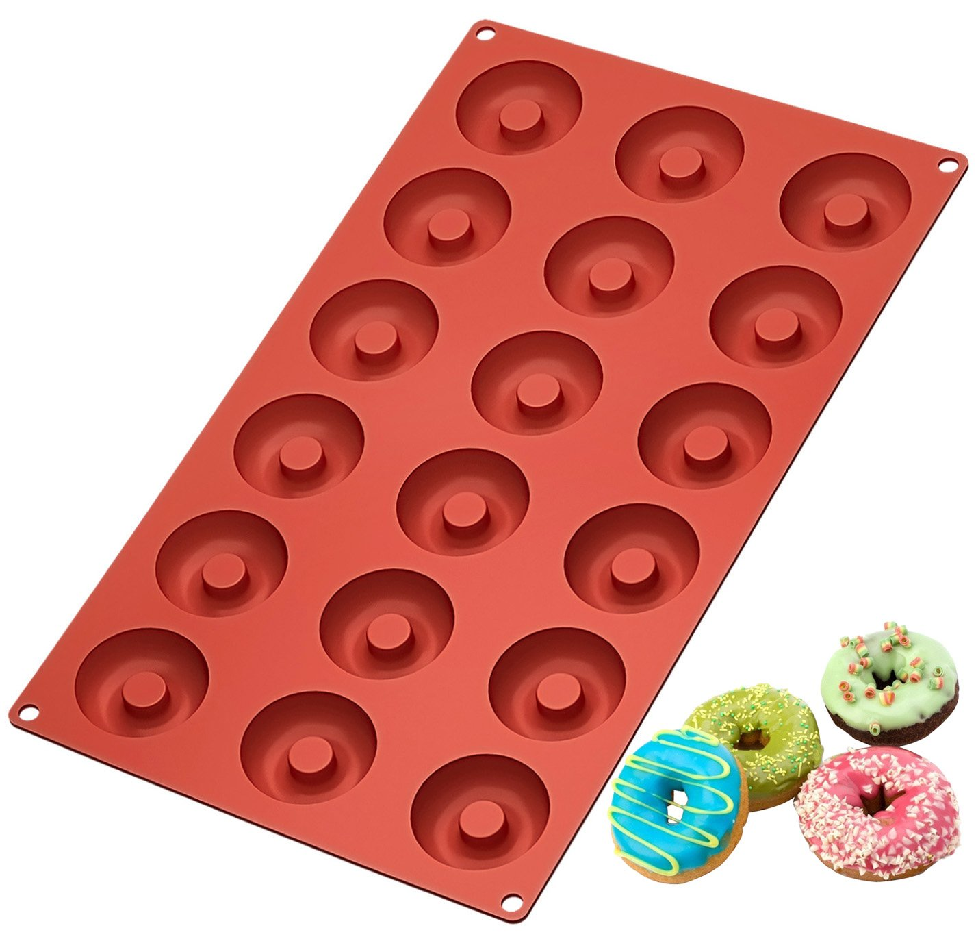 Ozera Silicone Mini Donut Pan, 18 Cavity Doughnut Baking Mold Tray - Muffin Cups, Cake Mold, Biscuit Mold, Red