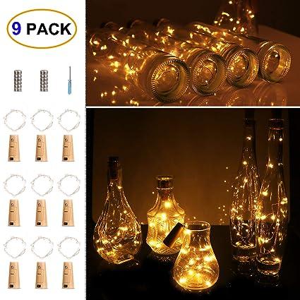 Amazon.com : 9 Pack Wine Bottle String Lights ITART Cork LED Battery ...
