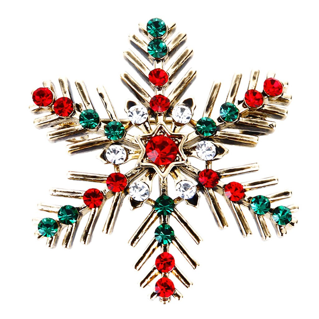 Datuun Christmas Decorative Snowflake Brooch Women Girl Pin Xmas Gifts with Rhinestone Datuun_2S41478