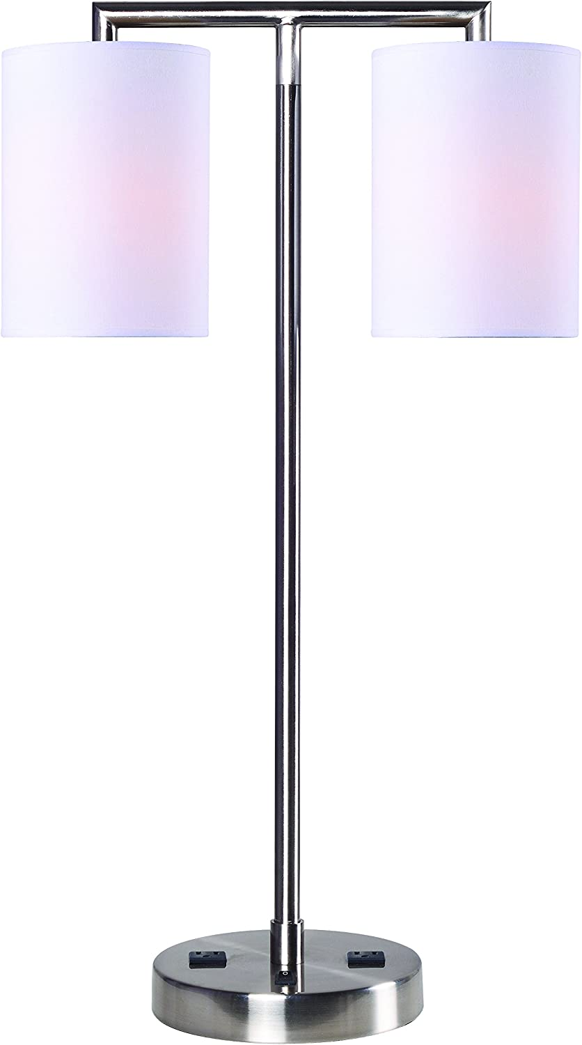 """Kenroy Home Maddox Table Lamp, 27"""" H x 16.5"""" W x 8"""" D, Brushed Steel Finish"""