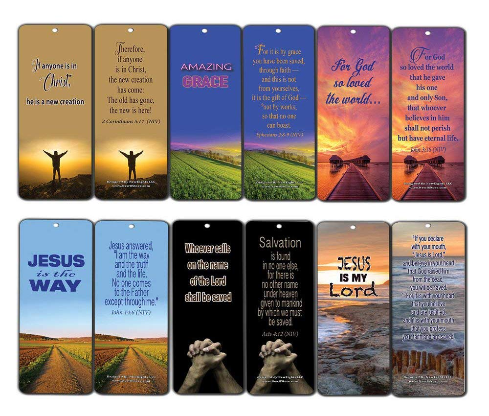 Bible Verse Cards (60-Pack) Salvation Scriptures Bookmarks John 3:16 - Christening Gift to Encourage Men Women Teens Boys Girls Kids - Evangelism Outreach Tool to Share Gospel of Jesus Christ NewEights