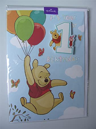 Disney Pooh Bear Birthday Card For A 1 Year Old With A Badge By
