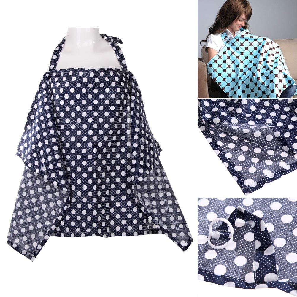 Blue Cherry Everpert Breastfeeding Cover with Adjustable Neckline Udder Mums Apron Shawl Infant Blanket Carseat Canopy with Storage Bag