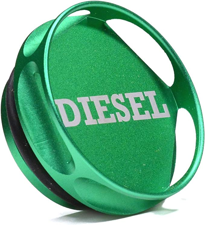 Billet Aluminum Green Fuel Cap Magnetic and Blue DEF Cap for 2013-2018 Dodge Ram Truck 1500 2500 3500 with Easy Grip Design Standard Grip -1 Diesel Fuel Cap for Dodge