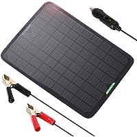 ALLPOWERS 18v 12v 10W Cargador Batería Mantenedor Panel Solar con Enchufe Cigarrillo, Línea Clip, Copas Succión y el…