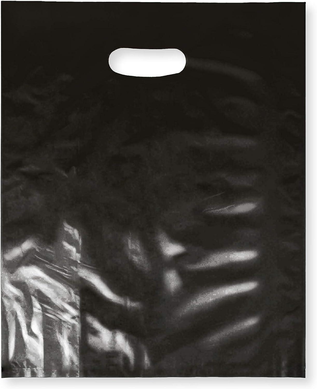 100 팩 12X15 과 함께 2 밀 두꺼운 상품 플라스틱 광택 있는 소매 가방 TTB|커트 손잡이|한 완벽한 쇼핑을위한 파티 선물 생일 어린이사|COLOR|블랙 100%재활용