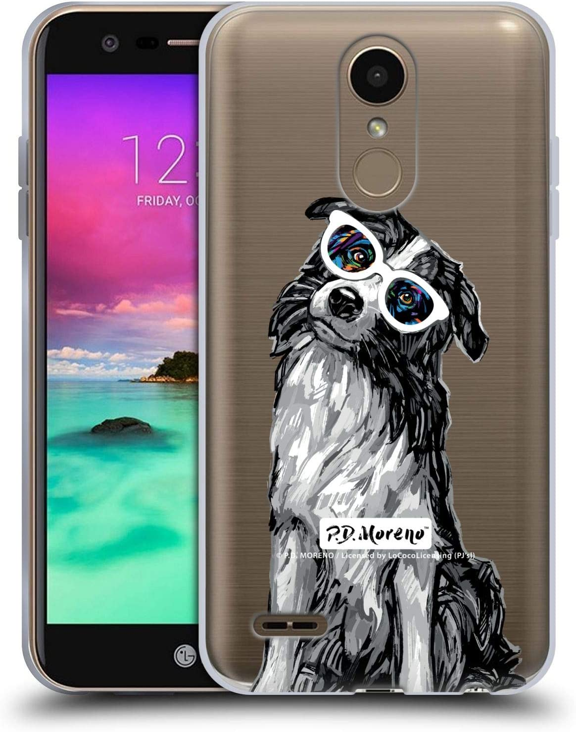 Official P.D. Moreno Border Collie Black and White Dogs Soft Gel Case Compatible for LG K10 / K11 / K11 Plus (2018)