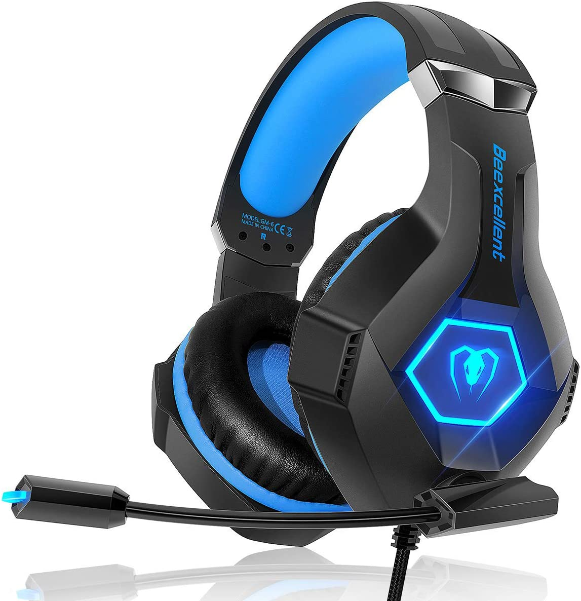 Gaming Headset for PS4 iKiKin Xbox One Headset with Mic Blue Stereo Surround Sound Noise Canceling Deep Bass LED Light Wired Over Ear Gaming Headphones for PC iPad Laptop