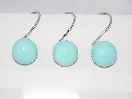 Amazon Aqua Blue Orbit 12 Shower Curtain Hooks Retro Ball Bath