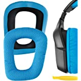 Geekria QuickFit Mesh Fabric Ear Pads for Logitech G35 G930 G430 F450 Headphones, Replacement Ear Cushion/Ear Cups/Ear Cover, Headset Earpads Repair Parts (Blue)