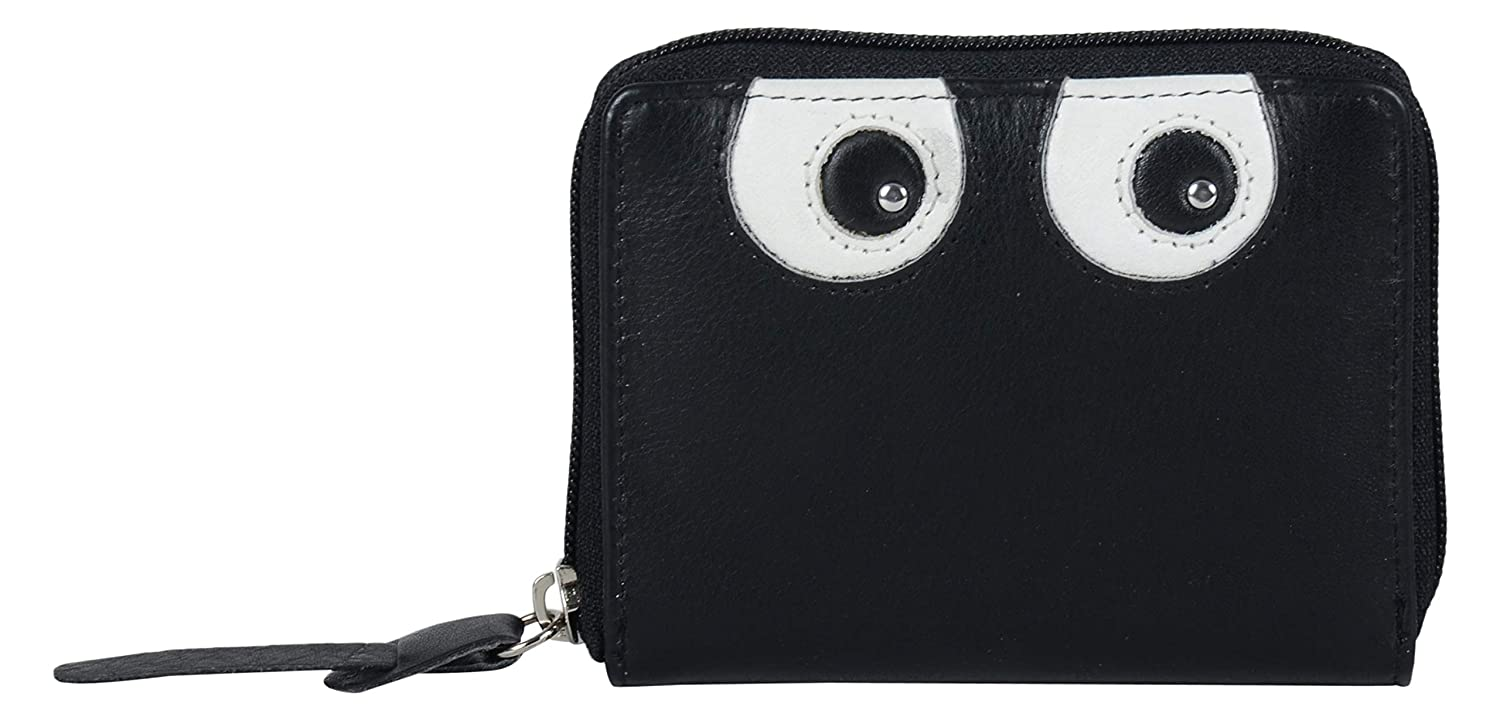 Black Tresori Women's Real Leather RFID Data Predected Zip Around Small Wallet