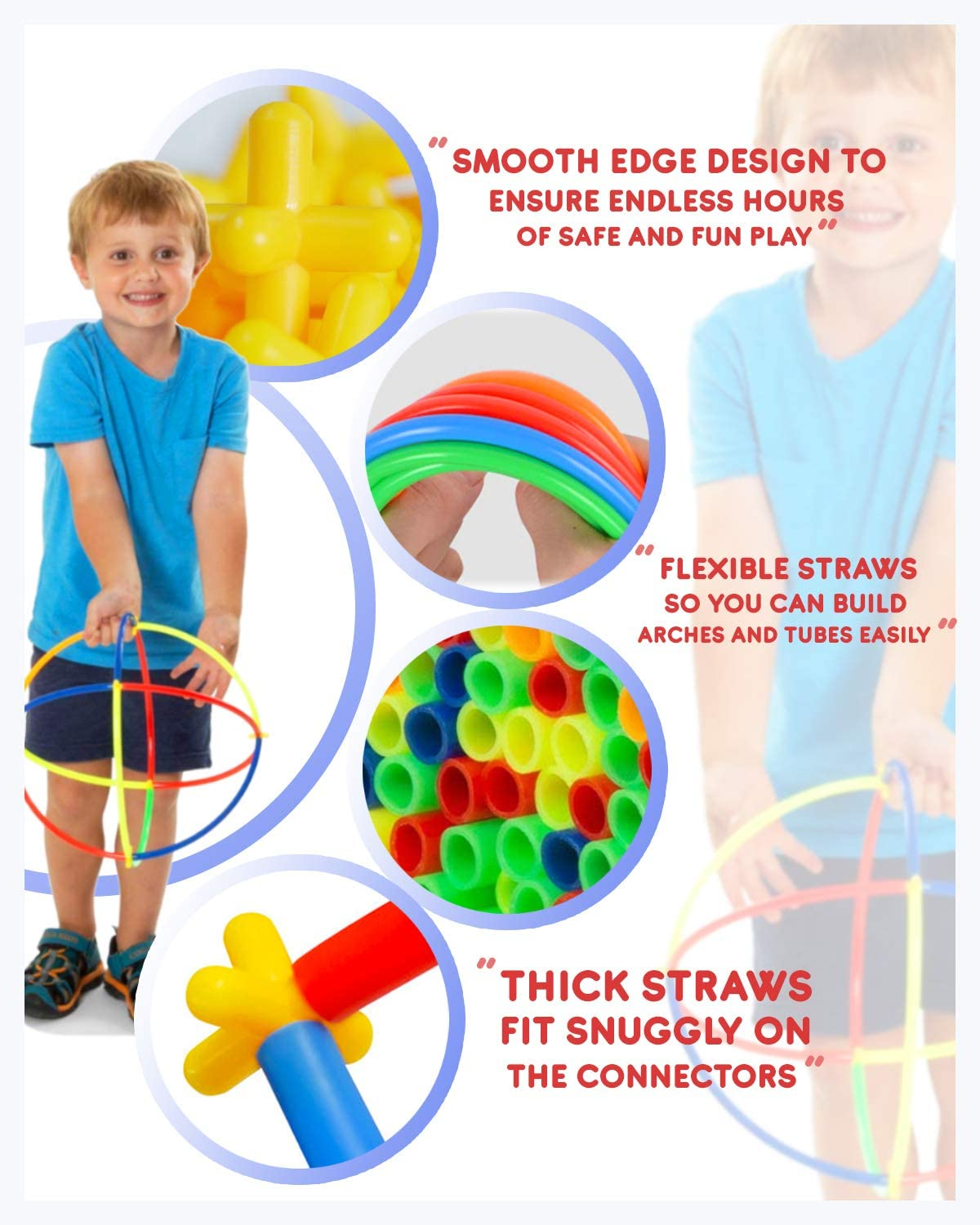 Piece STEM Straws and Connectors Building Sets with 100/% Cotton Tote Bag and Storage Box Colorful Educational Interlocking Straw Building Blocks for Boys and Girls Orbit Education Large 800//400