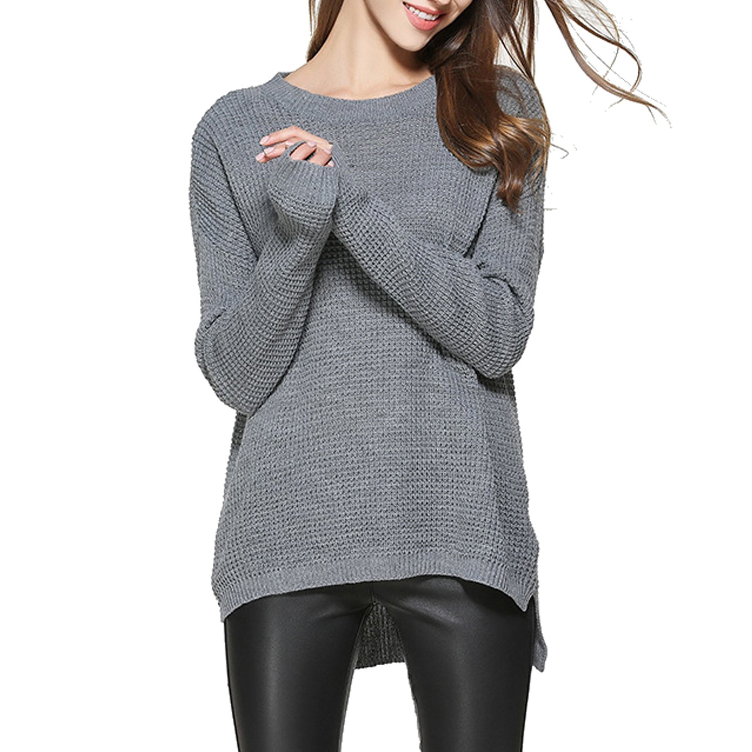 Tulucky Women Fashion Long Sleeve Casual Pullover Knitted Top Sweater (M, Gray)