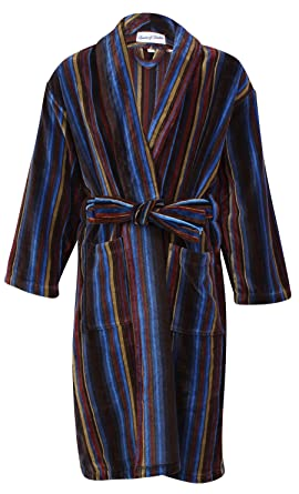 Bown of London, Men\'s Luxury Velour Dressing Gown, Bruges, Blue/Fawn ...