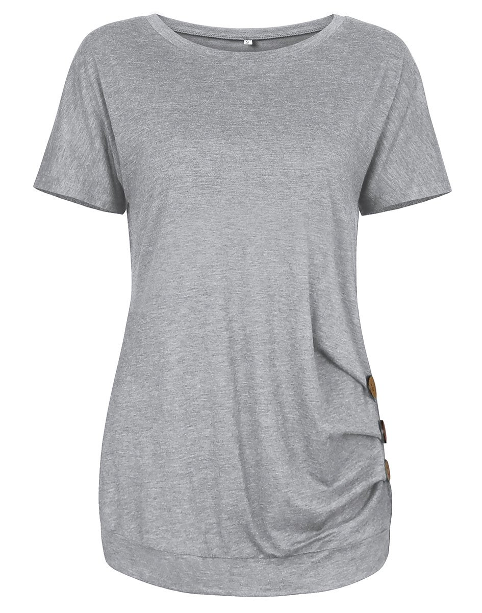 Ladylala Womens Casual Round Neck Short Sleeve T-Shirt Button Trim Solid Color Blouse Tunic Top (X-Large, Grey)