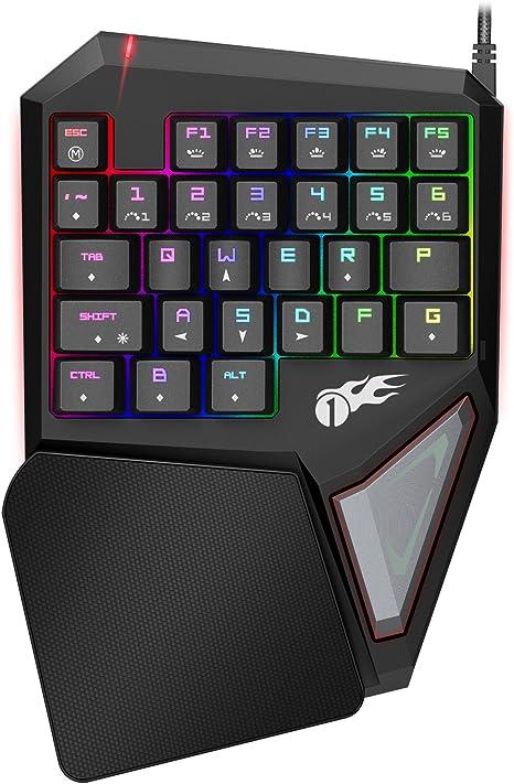 1byone teclado gaming mecánico, teclado profesional de una mano ...