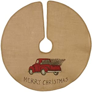 "The Country House Christmas Red Truck Burlap Tree Skirt (36"")"