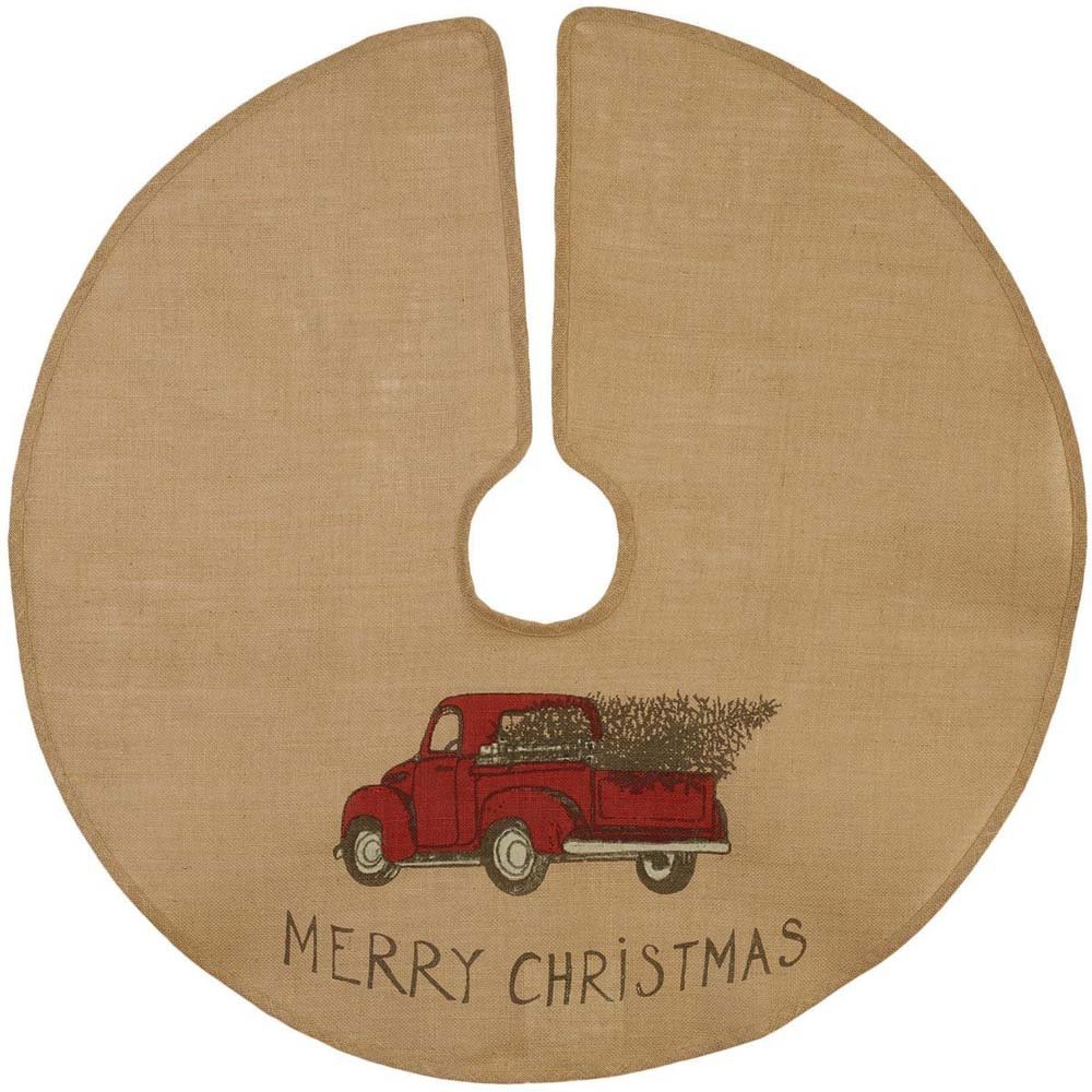 The Country House Christmas Red Truck Burlap Tree Skirt (36'')