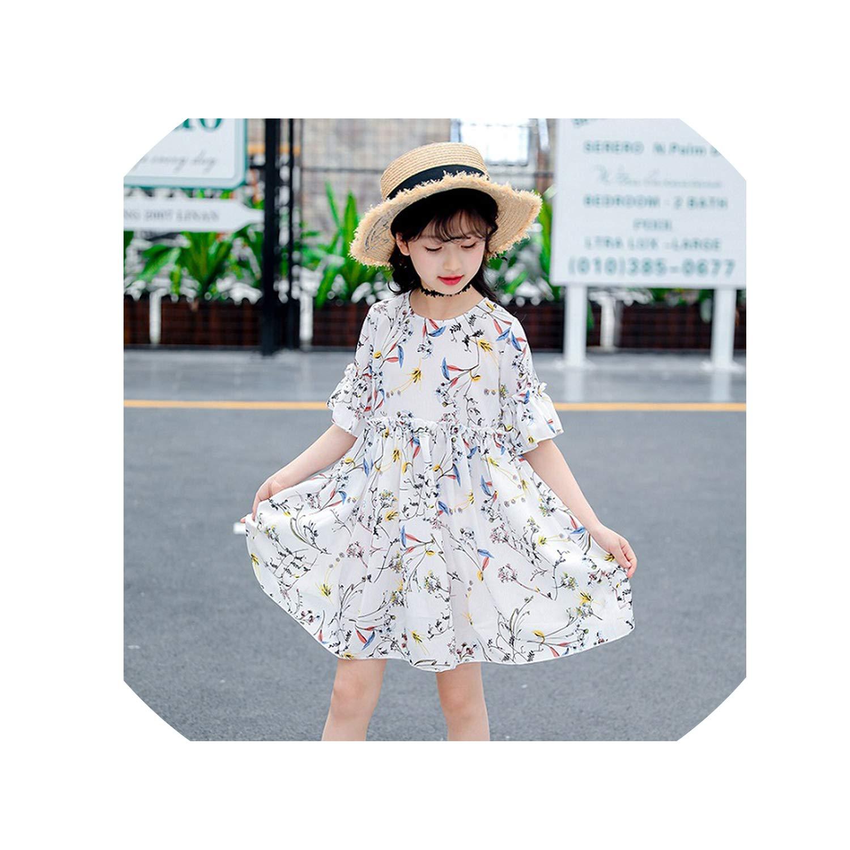 Girls Dresses for Kids Clothes Summer New Cute Print Beach Costume Children Princess Active Sundress 6 8 10 12 Yearss,White,10