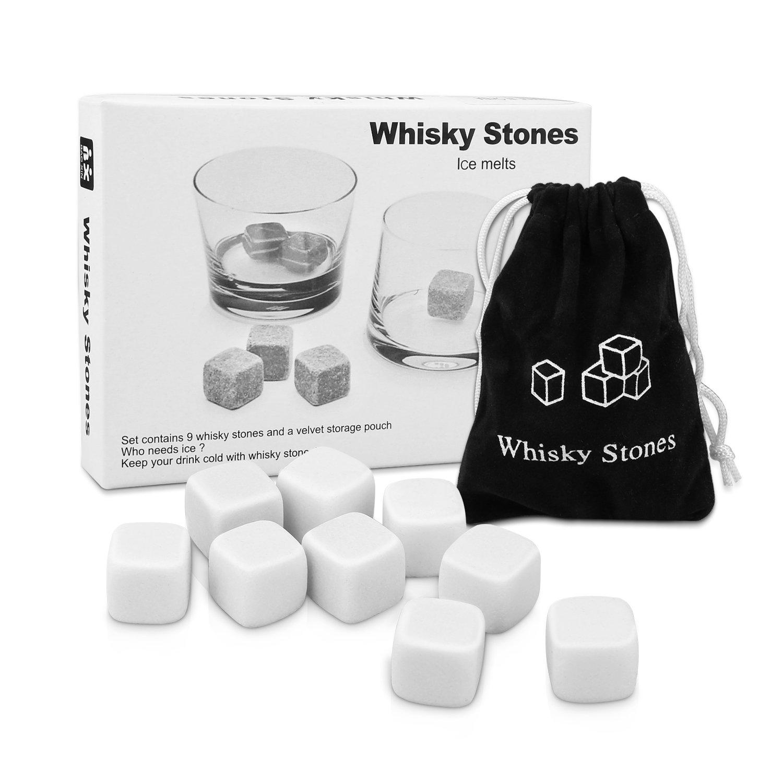 Whisky Stones, Proking 9 Pcs Gift Set Whisky Rocks Chilling Stones Reusable Granite Ice Cubes, Scotch Whisky Drinks Beer Wine Cooler, Best Gift For Whiskey Drinker, Husband, Dad, Men (white)