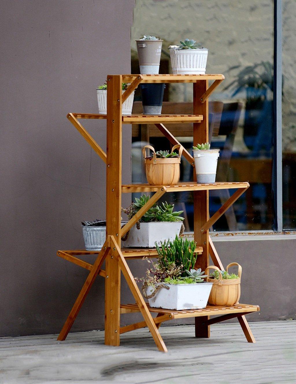 LB huajia ZHANWEI Blumentopf-Rack, Faltender hölzerner Wohnzimmer Mehrstöckiger Blumen-Rahmen-Balkon-Blumen-Topf-Zahnstange