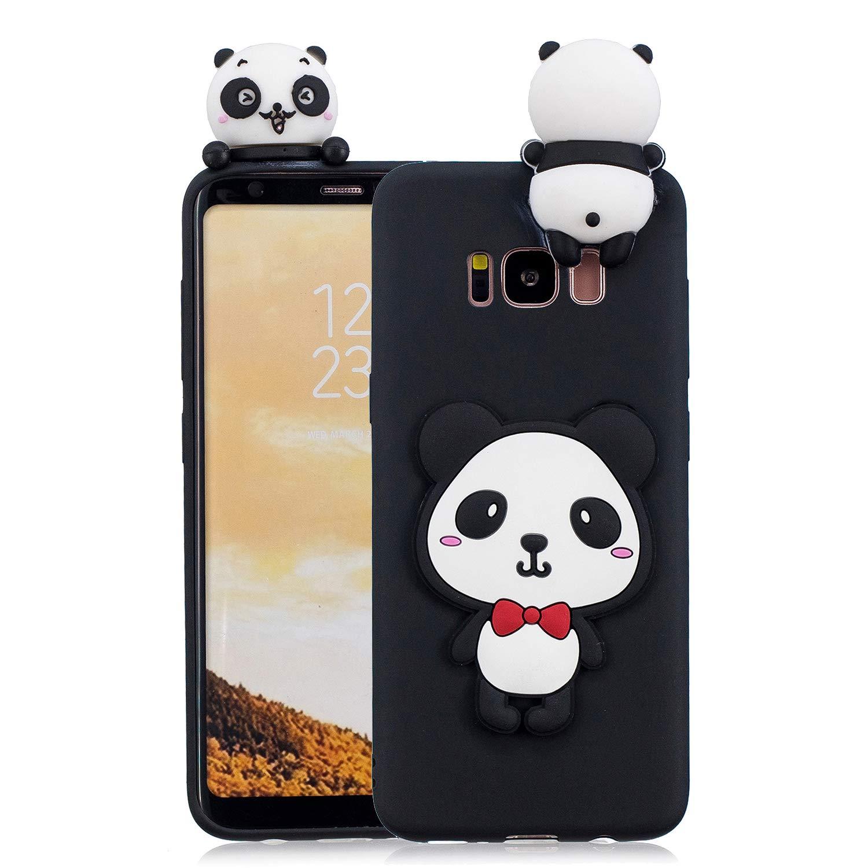 Yobby 3D Animal Dessin Animé Coque Samsung Galaxy S8 Plus, Coque Ultra Fine Mignonne Kawaii Motif Étui Slim Doux Flexible Souple Caoutchouc Silicone Antichoc Housse Protection-Panda Rouge Arc