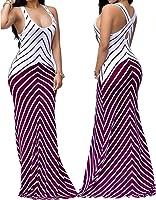 shekiss Women Sleeveless Sexy Maxi Stretch Bodycon Party Bandage Club Dresses