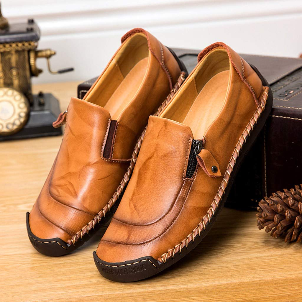 FNKDOR Schuhe Herren Gesch/äft Freizeit Lederschuhe Bootsschuhe Seitlicher Rei/ßverschluss Hohl Atmungsaktiv Runder Kopf Slip-On Faule Schuhe(38-48)