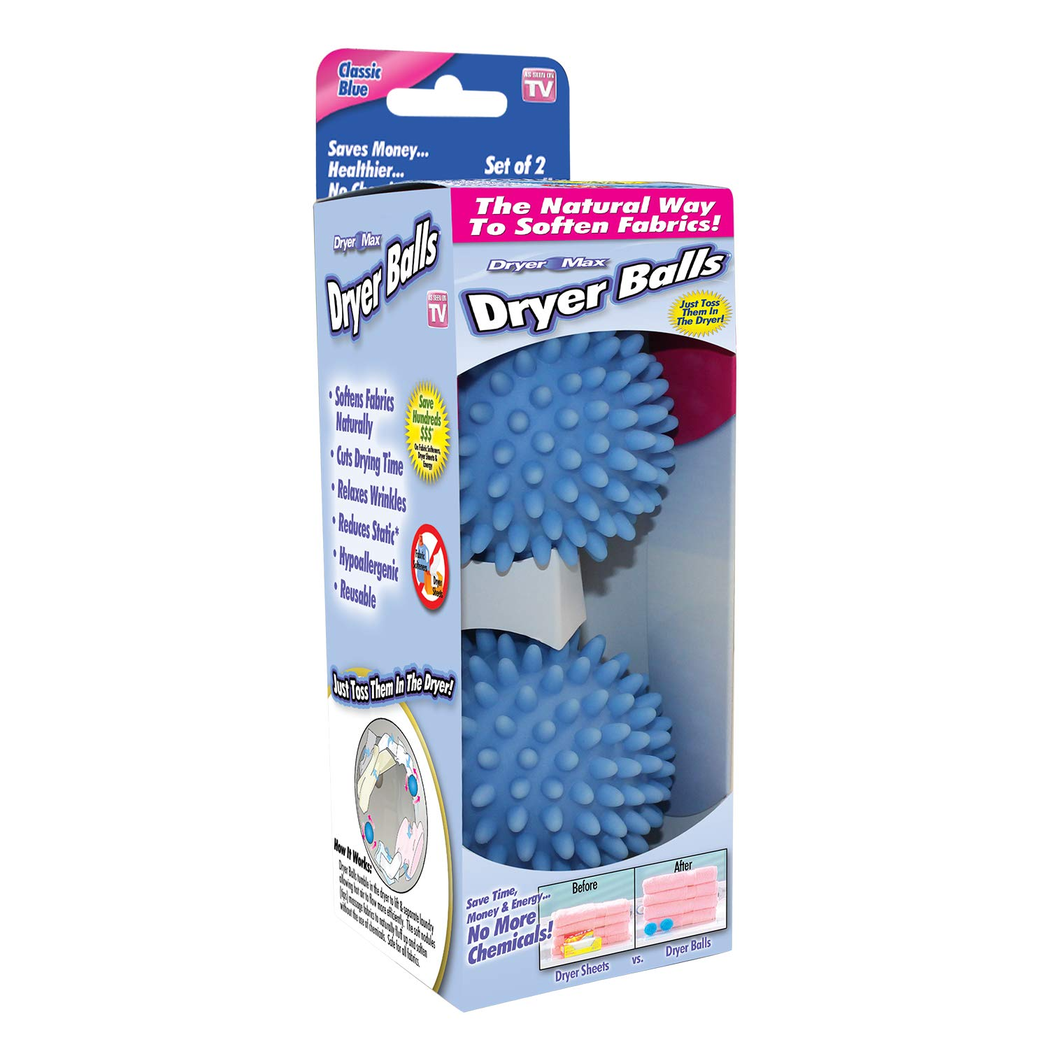 Ontel DryerMax Laundry Dryer Balls | Reusable, Natural,Hypoallergenic Fabric Softener | Saves Dryer Time and Energy | 2 Count | Colors May Vary: Blue, Purple, Yellow