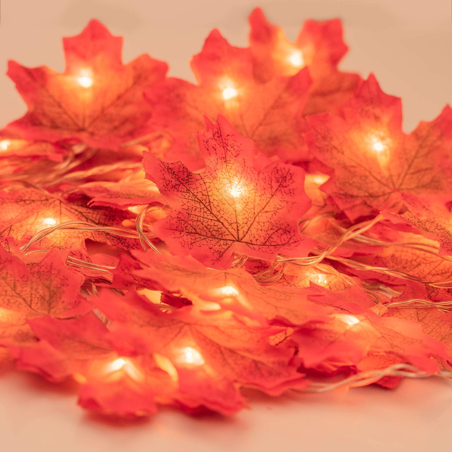 Fall Garland with Lights, Fall Maple Leaves String Light, 6.56ft /20 Led Maple Fairy Light, 3AA Battery Powered Led Maple Garland Harvest Autumn Leave Light for Halloween, Birthday Decoration Muscccm