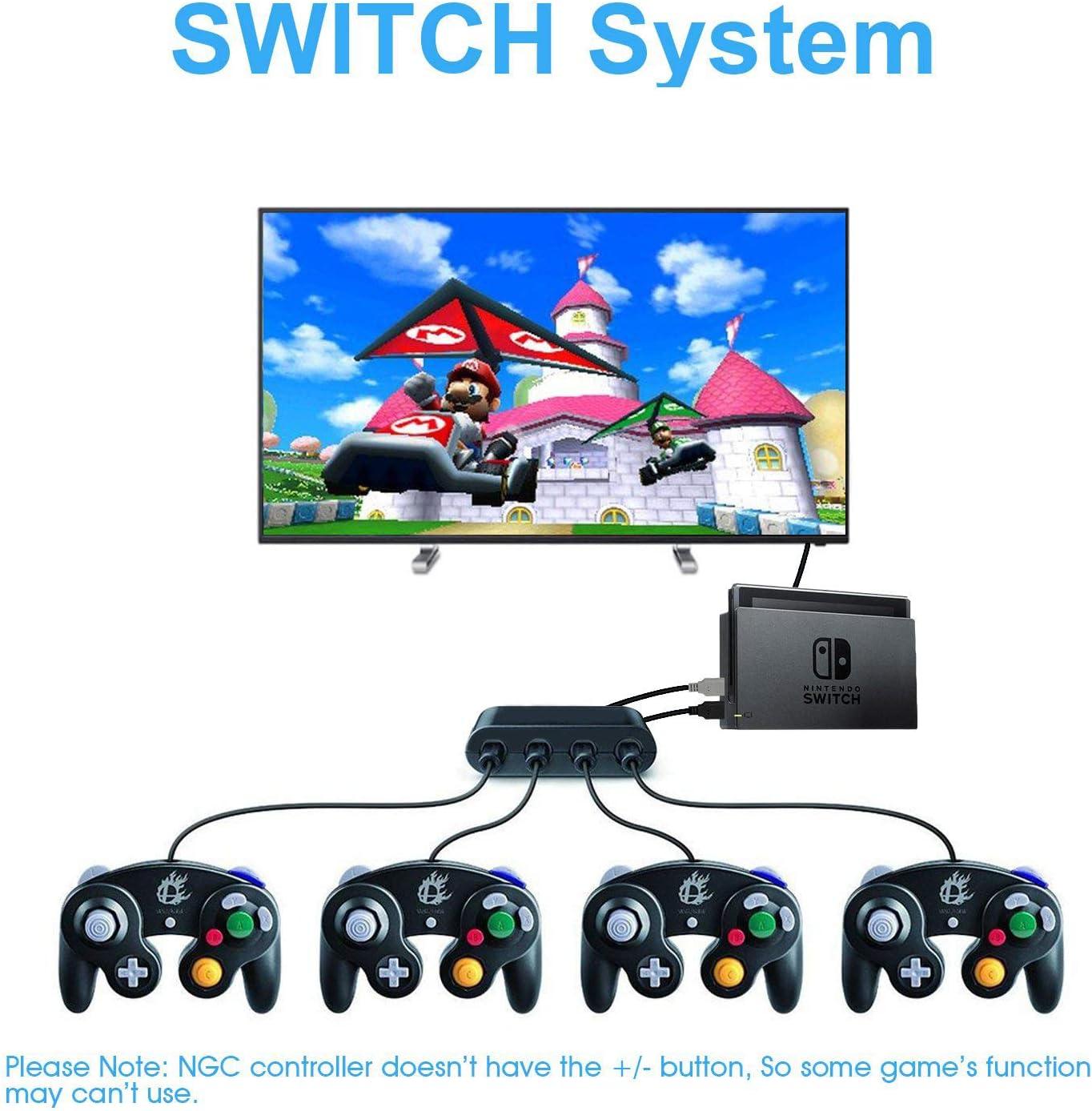 JinSu Gamecube Controller Adapter, Super Smash Bros de Control de Gamecube Adaptador para Nintendo Switch/Wii U/PC, Versión Mejorada 4 Puertos NGC Adapter con Home/Turbo Turbo (Negro): Amazon.es: Electrónica