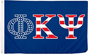 Phi Kappa Psi USA Pattern Letter Fraternity Flag 3 feet x 5 feet Banner Sign Decor Phi Psi (Flag - USA)