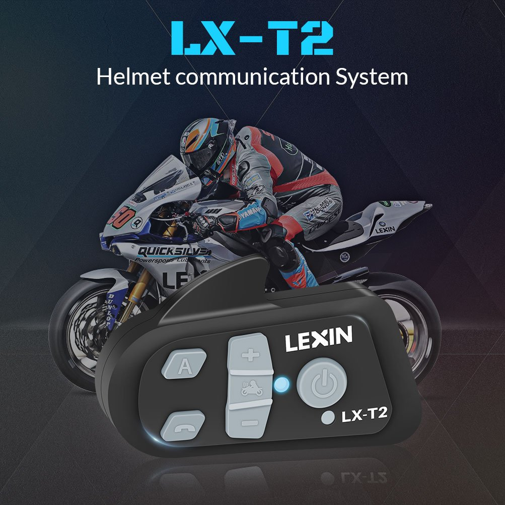 LX-T2 BT Interphone Casco de Moto Comunicación Bluetooth Intercom, Sistema de Auriculares de Moto con Tecnología Avanzada Elimina el Ruido del Viento, ...
