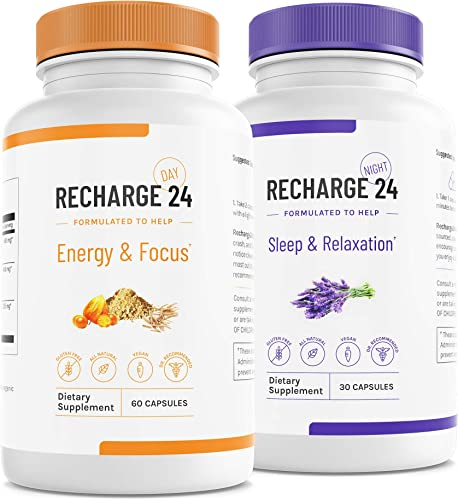 RECHARGE24 AM PM Energy Pills and Sleep Aid, Non-Crash Sustained Performance, 100 Natural Herbal Blend with 200 mg Natural Caffeine, All Natural Sleeping Pills, 30 Day Supply