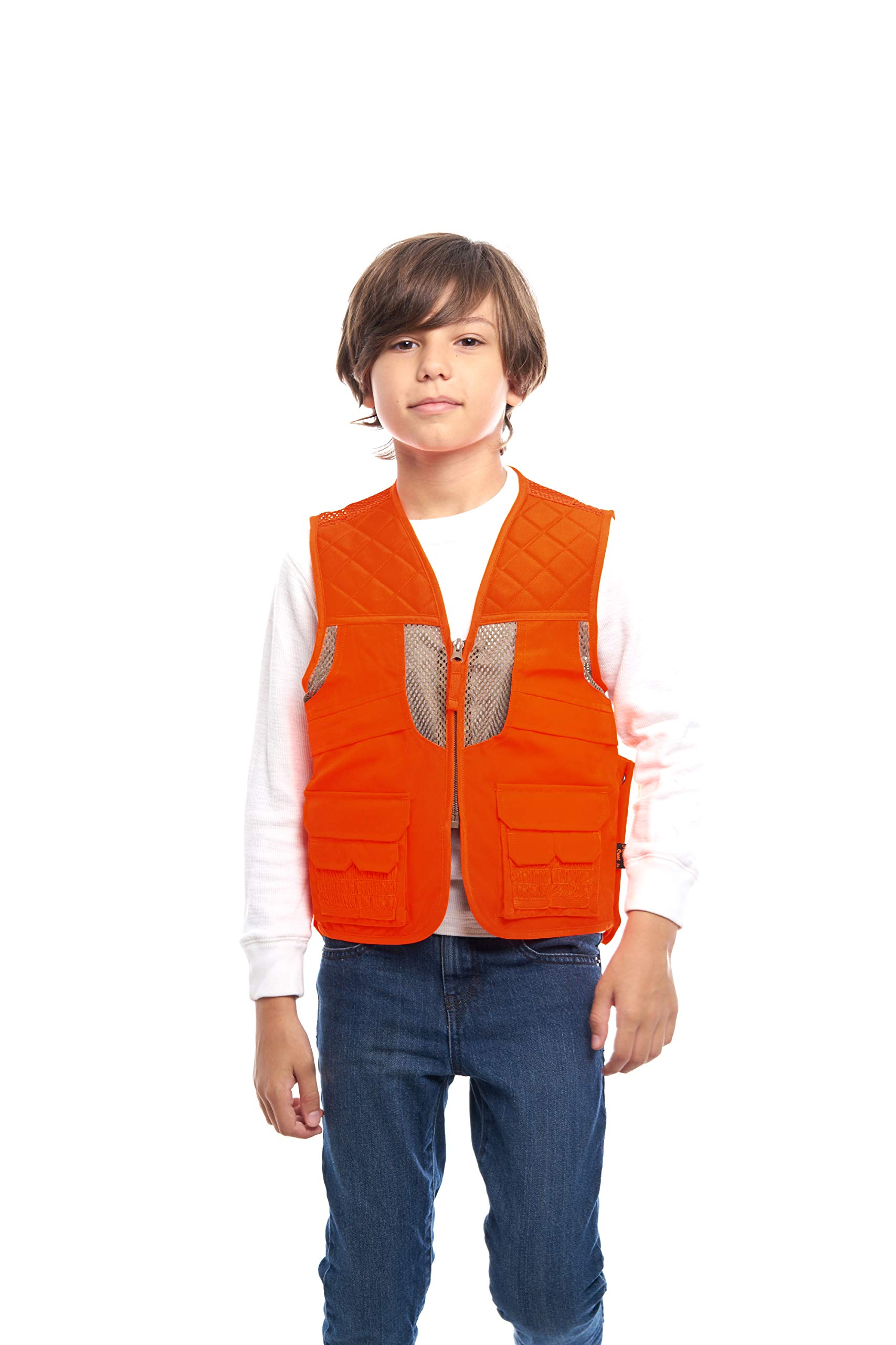 TrailCrest Kids Blaze Orange Deluxe Front Loader Hunting Vest, XS