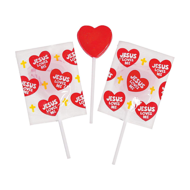 Fun Express - Jesus Loves Me Sucker for Valentine's Day - Edibles - Sucker & Pop - Character Suckers - Valentine's Day - 57 Pieces