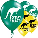 Australia Day latex 11 inch balloons - Green & Yellow - G-Day Mate & Kanagroo design