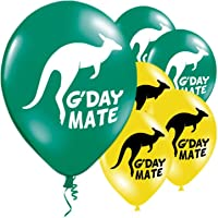 Australia Day latex 11 inch balloons - Green & Yellow - G-Day Mate & Kanagroo design