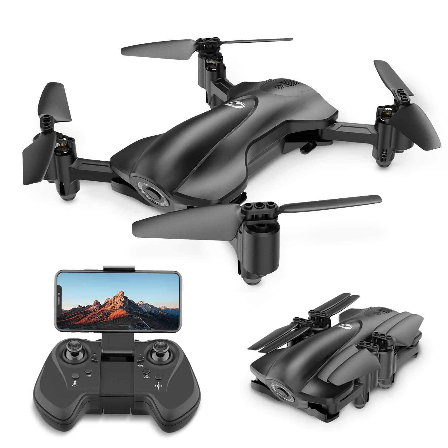 Holy Stone GPS Drone FPV Drones with Camera for Adults 1080P HD Live Video, Foldable Drone for Beginners, RC Quadcopter with GPS Return Home, Follow Me, Altitude Hold and 5G WiFi Transmission, HS165 by Holy Stone